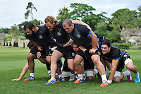 The Bath pack practise their scrummaging. Bath Rugby pre-season training session on July 18, 2014 at Farleigh House in Bath, England. Photo by: Patrick Khachfe/Onside Images
