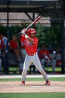 GCL Phillies West third baseman Jesus Azuaje (2) at bat during a game against the GCL Blue Jays on August 7, 2018 at Bobby Mattick Complex in Dunedin, Florida.  GCL Blue Jays defeated GCL Phillies West 11-5.  (Mike Janes/Four Seam Images)