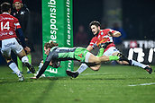 January 12th 2018, Stade Armandie , Agen, France;  European Rugby Challenge Cup, SU Agen Lot-et-Garrone; Callum Braley (glo) goes over to score his try