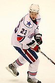 December 30th, 2007:  Marek Zagrapan (23) of the Rochester Amerks looks for the puck during the second period of play.  The Syracuse Crunch shutout the Rochester Amerks 4-0 to earn the win at Blue Cross Arena at the War Memorial in Rochester, NY.  Photo Copyright Mike Janes Photography 2007.