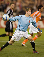 United's goalkeeper Troy Perkins throws the ball out of the box. D.C. United defeated the Houston Dynamo 2-0 at RFK Stadium in Washington, D.C. on April 15, 2006