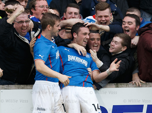 Nicky Clark mobbed by fans after scoring the winning goal for Rangers