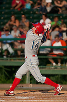 May 6 2010: Brian Gump (16) of the Clearwater Threshers during a game vs. the Daytona Cubs at Jackie Robinson Ballpark in Daytona Beach, Florida. Clearwater, the Florida State League High-A affiliate of the Philadelphia Phillies, won the game against Daytona, affiliate of the Chicago Cubs, by the score of 8-3.  Photo By Scott Jontes/Four Seam Images