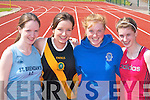 LONG JUMP: Orla McCarthy (Tralee Presentation), Lisa Brennan (Mounthawk), Laura Collins and Nicola OMahony (Tralee Presentation) get ready for the long jump at the Kerry Colleges Athletic Championships in Castleisland on Wednesday 2nd May..