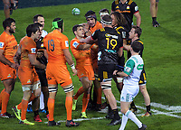 Brodie Retallick gets to grips with Nicolas Sanchez during the Super Rugby match between the Chiefs and Jaguares at Rotorua International Stadum in Rotorua, New Zealand on Friday, 4 May 2018. Photo: Dave Lintott / lintottphoto.co.nz