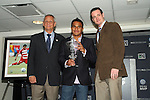 19 November 2010: FC Dallas midfielder David Ferreira (center), with head coach Schellas Hyndman (left) and a representative of Volkswagen (right), was awarded the 2010 VW MLS MVP Award. The 2010 Major League Soccer MVP was awared at BMO Field in Toronto, Ontario, Canada as part of MLS Cup 2010 Weekend, Major League Soccer's championship game.