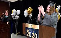 Jefferson County Public Schools broadcasts Fern Creek High School's Virtual Graduation 2020 during the COVID-19 pandemic. <br /> <br /> Student speaker Kassi Price claps as Fern Creek's virtual graduation ends with Principal Rebecca Nicolas.