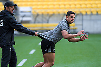 Dr Nic Gill and Anton Lienert-Brown. All Blacks training at Westpac Stadium in Wellington, New Zealand on Thursday, 14 June 2018. Photo: Dave Lintott / lintottphoto.co.nz