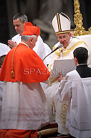 British cardinal Vincent Gerard Nichols receives his beret as he is being appointed cardinal by Pope Francis  at the consistory in the St. Peter's Basilica at the Vatican on February 22, 2014.