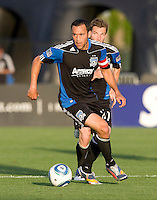 Ramiro Corrales of the Earthquakes in action during the game against the Crew at Buck Shaw Stadium in Santa Clara, California on June 2nd, 2010.  San Jose Earthquakes tied Columbus Crew, 2-2.