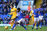 Preston North End's Ben Pearson is tackled by Ipswich Town's Trevoh Chalobah<br /> <br /> Photographer David Shipman/CameraSport<br /> <br /> The EFL Sky Bet Championship - Ipswich Town v Preston North End - Saturday 3rd November 2018 - Portman Road - Ipswich<br /> <br /> World Copyright &copy; 2018 CameraSport. All rights reserved. 43 Linden Ave. Countesthorpe. Leicester. England. LE8 5PG - Tel: +44 (0) 116 277 4147 - admin@camerasport.com - www.camerasport.com