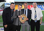 St Johnstone Player of the Year Awards 2014-15.....16.05.15<br /> Dan Shek, Jordy Duncan and Gary Bannerman present the We Are Perth Barossa Player of the Year Award to Chris Millar<br /> Picture by Graeme Hart.<br /> Copyright Perthshire Picture Agency<br /> Tel: 01738 623350  Mobile: 07990 594431