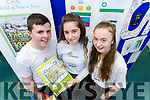 Cian Lenihan, Alanna Lynch and Natasha Myers, students from Killorglin Community College, pictured with their project 'The Hidden Myths of Kerry', at IT Tralee Student Enterprise awards on Friday last.