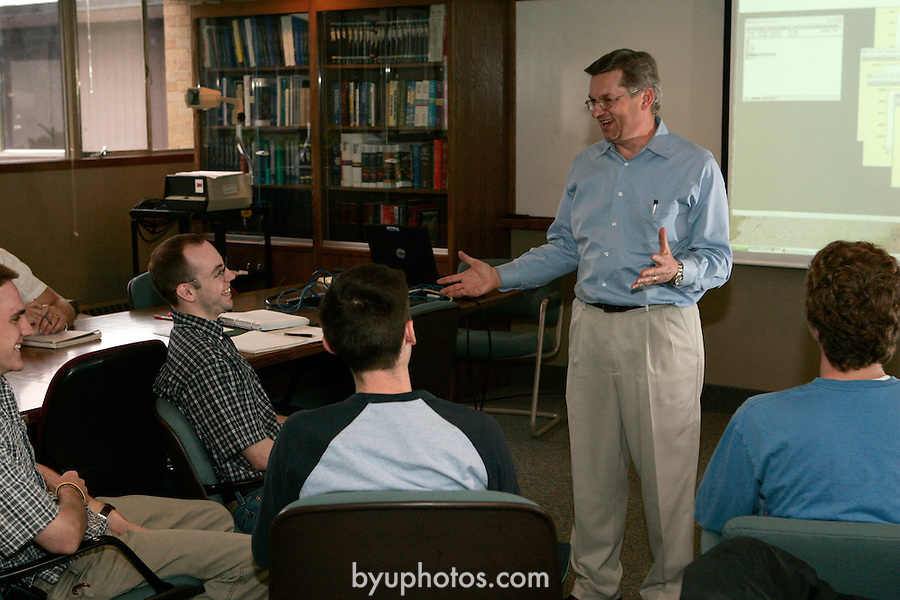 0505-12 Economics Proposal..5/10/05..Photos for Economics Proposal/Donation..BYU Development..Larry Wimmer-Classroom.Rulon Pope-Student Mentored Learning.Jim McDonald-Mentored Learning.Dave Spencer-Small Group..Photo by Jaren Wilkey/BYU..Copyright BYU Photo 2005.All Rights Reserved.photo@byu.edu   (801)422-7322.