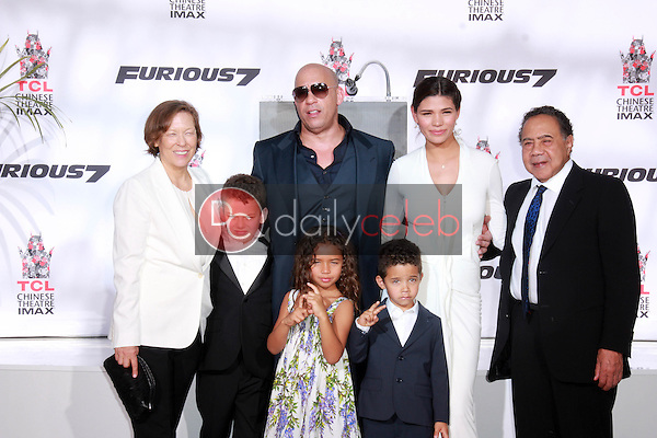 Vin Diesel, Paloma Jimenez, family<br /> at the Vin Diesel Hand and Foot Print Ceremony, TCL Chinese Theater, Hollywood, CA 04-01-15<br /> David Edwards/DailyCeleb.com 818-249-4998