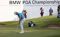 Danny Willett (ENG) putting out on the last during Round Three of the 2016 BMW PGA Championship over the West Course at Wentworth, Virginia Water, London. 28/05/2016. Picture: Golffile   David Lloyd. <br /> <br /> All photo usage must display a mandatory copyright credit to © Golffile   David Lloyd.