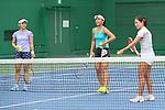 (L to R) <br /> Misaki Doi, <br /> Eri Hozumi, <br /> Nao Hibino (JPN), <br /> JULY 13, 2016 - Tennis : <br /> Training <br /> for Rio Olympic Games in Tokyo, Japan. <br /> (Photo by YUTAKA/AFLO SPORT)
