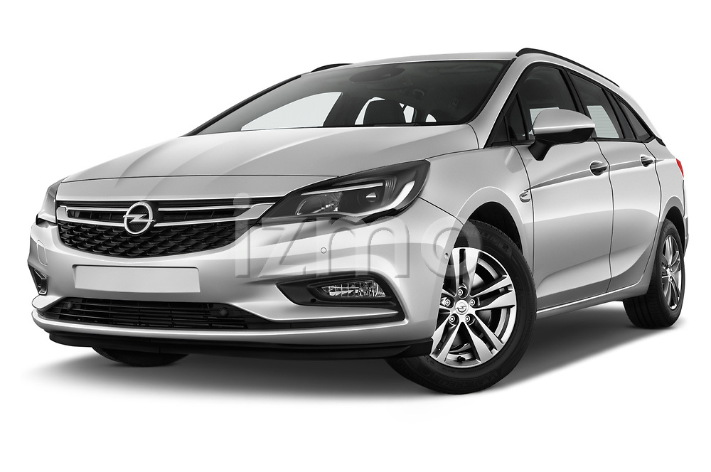 Stock pictures of low aggressive front three quarter view of 2017 Opel Astra Sports Tourer Edition 5 Door Wagon