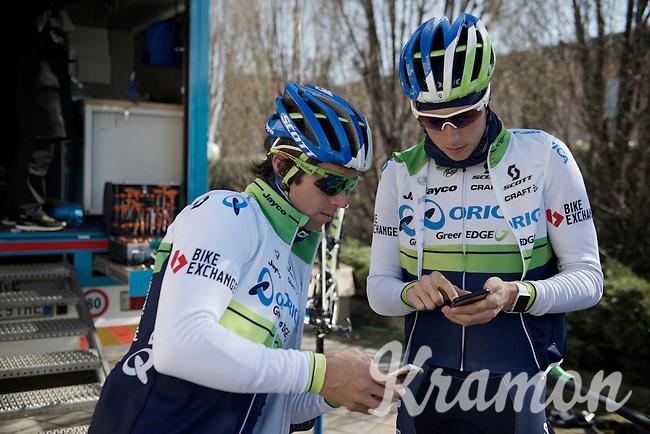 Michael Matthews (AUS/Orica-GreenEDGE) & Jens Keukeleire (BEL/Orica-GreenEDGE) planning a training/coffee ride with Team Orica-GreenEDGE at Monza (race circuit park) 1 day before Milan-San Remo