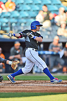 UNC Asheville Bulldogs second baseman Lucas Owens (1) swings at a pitch during a game against the Tennessee Volunteers at McCormick Field on March 15, 2016 in Asheville, North Carolina. The Volunteers defeated the Bull Dogs 7-3. (Tony Farlow/Four Seam Images)