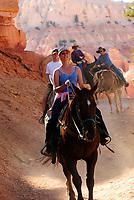 park visitors enjoying horse, Equus ferus caballusback riding tour, Bryce Canyon National Park, Utah, USA