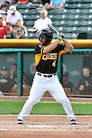 Drew Heid (4) of the Salt Lake Bees at bat against the Albuquerque Isotopes at Smith's Ballpark on May 21, 2014 in Salt Lake City, Utah.  (Stephen Smith/Four Seam Images)