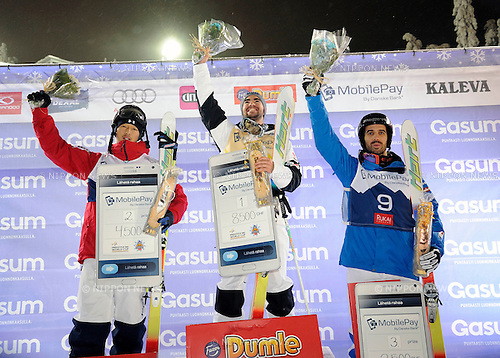 Sho Endo (JPN), Philippe Marquis (CAN), Anthony Benna (FRA), DECEMBER 13, 2014 - Freestyle Skiing : 2nd placed Sho Endo of Japan, winner Philippe Marquis of Canada and 3rd placed Anthony Benna of France celebrate on the podium during the award ceremony for the FIS Freestyle Skiing World Cup Men's Dual Moguls in Ruka, Kuusamo Finland. (Photo by Hiroyuki Sato/AFLO)