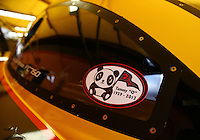 Jul. 27, 2013; Sonoma, CA, USA: Detailed view of a sticker memorializing Tammy Oberhofer on the car of NHRA funny car driver Del Worsham during qualifying for the Sonoma Nationals at Sonoma Raceway. Mandatory Credit: Mark J. Rebilas-