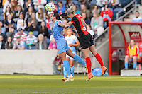 Bridgeview, IL, USA - Saturday, April 23, 2016: Chicago Red Stars midfielder Vanessa DiBernardo (10) and Western New York Flash defender Alanna Kennedy (8) during a regular season National Women's Soccer League match between the Chicago Red Stars and the Western New York Flash at Toyota Park. Chicago won 1-0.