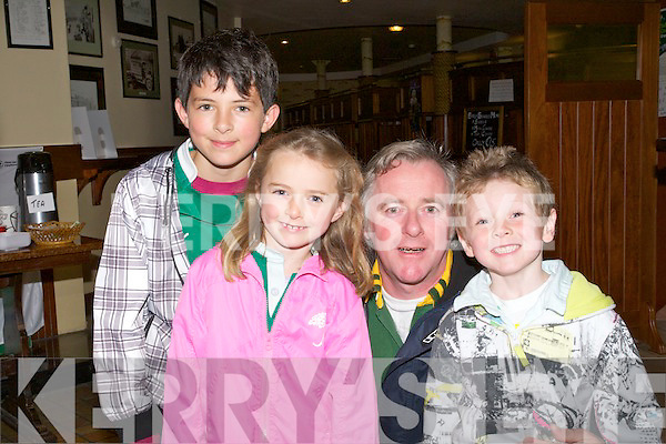 .EARLY :Sam Hawe, Síofra,Declan and Roarke O'Carroll  went to Der's The Mall, Tralee at 6am on Saturday to watch Ireland play Wales in the quarter final of the Rugby World Cup.