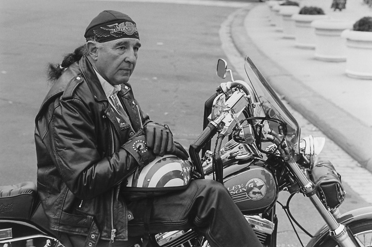 Sen. Ben Nighthorse Campbell, D-Colo., poses on his Harley Davidson at east front of the Capitol Hill, Nov. 17, 1993. (Photo by Chris Martin/CQ Roll Call via Getty Images)
