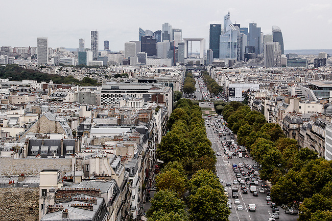 Looking from the Arc de Triomphe down the Avenue de la Grande Armee to the La Grand Arc.