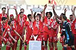 die Bayern mit der Meisterschale, Siegerehrung,<br /> Joshua KIMMICH (M) mit der Schale, <br /> Jubel, jubeln, Freude, cheers, <br /> <br /> Sport: Fussball: 1. Bundesliga: Saison 19/20: 34.Spieltag, <br /> VFL WOLFSBURG - FC BAYERN MUENCHEN <br /> am 27.06.2020 in der Volkswagen Arena Wolfsburg, <br /> <br /> Nur fuer journalistische Zwecke! <br /> Only for editorial use!<br /> Gemaess den Vorgaben der DFL Deutsche Fussball Liga ist es untersagt, in dem Stadion und/oder vom Spiel angefertigte Fotoaufnahmen in Form von Sequenzbildern und/oder videoaehnlichen Fotostrecken zu verwerten bzw. verwerten zu lassen. <br /> DFL regulations prohibit any use of photographs as image sequences and/or quasi-video.<br /> National and International News Agencies OUT<br /> NO RESALE!