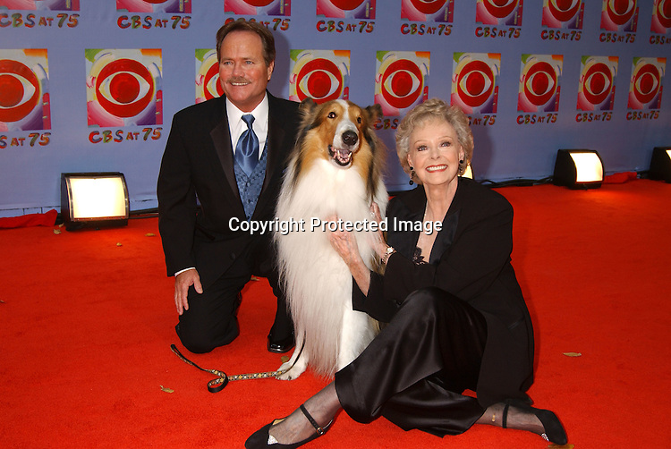 ..Jon Provost and Lassie and June Lockhart..at CBS's 75th Anniversary at The Hammerstein Ballroom in ..New York City on November 2, 2003. Photo by Robin Platzer, Twin Images