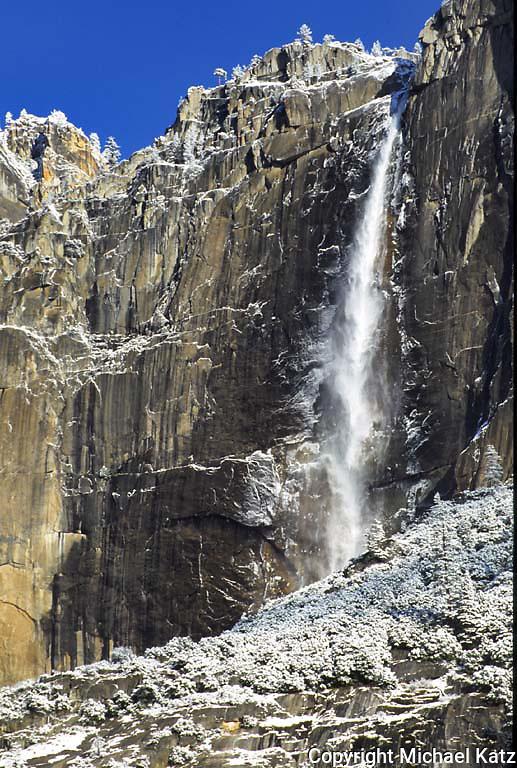 Ice apron around upper Yosemite Fall