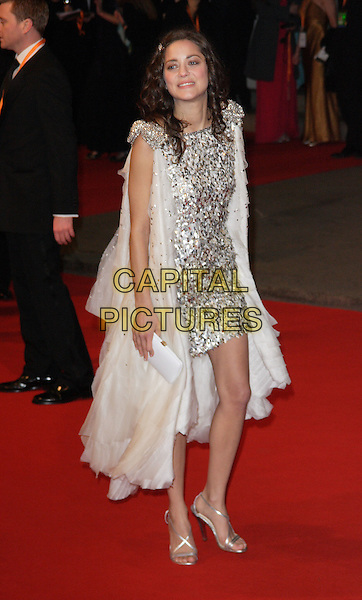 MARION COTILLARD.The Orange British Academy Film Awards in 2008 The Royal Opera House, Covent Garden, London, England. .February 10th, 2008 .BAFTA Arts full length white dress silver sequins sequined cape coat clutch bag purse .CAP/ROS.©Steve Ross/Capital Pictures.