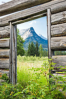 A derelict homestead's open door still frames the fantastic landscape beyond here in the mountains and meadows of Jasper National Park in Alberta Canada.