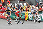 Alberto Contador, Joaquin Purito Rodriguez and Alejandro Valverde during the stage of La Vuelta 2012 between Lleida-Lerida and Collado de la Gallina (Andorra).August 25,2012. (ALTERPHOTOS/Acero)