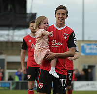 Andrew Fleming of Morecambe thanks the fans for there support over the 2016/17 season at there last home match  during the Sky Bet League 2 match between Morecambe and Wycombe Wanderers at the Globe Arena, Morecambe, England on 29 April 2017. Photo by Stephen Gaunt / PRiME Media Images.