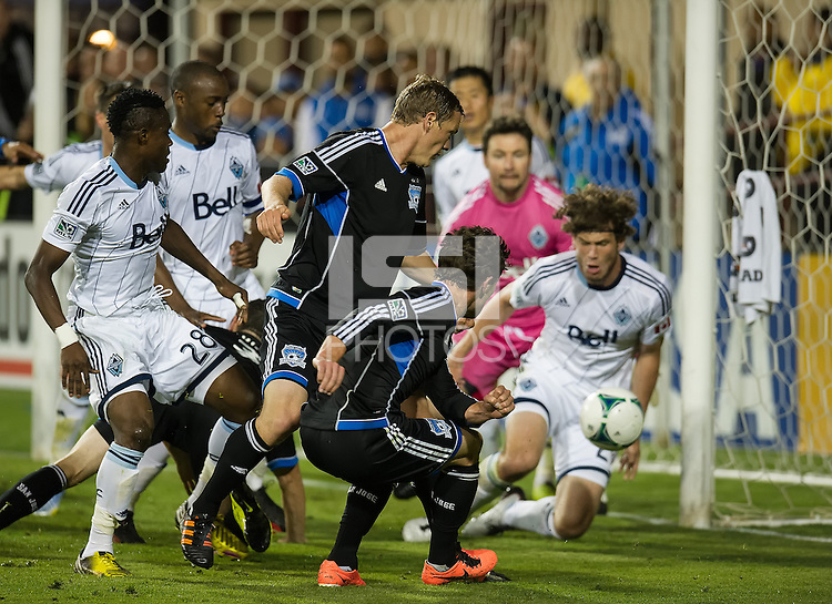 SANTA CLARA, CA - April 6, 2013: San Jose forward Mike Fucito (9) takes a shot on goal during the San Jose Earthquakes vs Vancouver Whitecaps FC game at Buck Shaw Stadium in Carson, California. Final score San Jose Earthquakes 1, Vancouver Whitecaps FC 1.