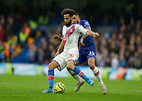 9th November 2019; Stamford Bridge, London, England; English Premier League Football, Chelsea versus Crystal Palace; Andros Townsend of Crystal Palace on the ball holds off Emerson Palmieri of Chelsea - Strictly Editorial Use Only. No use with unauthorized audio, video, data, fixture lists, club/league logos or 'live' services. Online in-match use limited to 120 images, no video emulation. No use in betting, games or single club/league/player publications