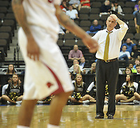 NWA Democrat-Gazette/Michael Woods --03/19/2015--w@NWAMICHAELW... Wafered coach Mike Young reacts during a timeout late in the second half of Thursday nights 56-53 loss to Arkansas in the 2015 NCAA basketball tournament at Jacksonville Veterans Memorial Arena in Jacksonville, Florida.