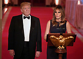 United States President Donald J. Trump and First lady Melania Trump attend a White House Historical Association dinner at the White House, May 15, 2019, in Washington, DC. The organization's goal is to promote the public's understanding, appreciation and enjoyment of the White House. <br /> Credit: Mike Theiler / Pool via CNP