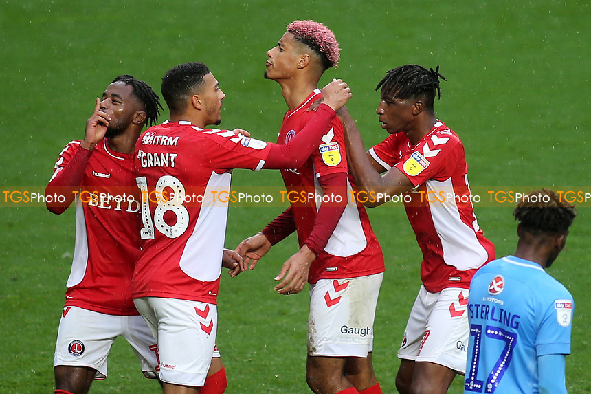Charlton players congratulate Lyle Taylor after scoring their opening goal during Charlton Athletic vs Coventry City, Sky Bet EFL League 1 Football at The Valley on 6th October 2018