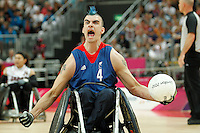 07.09.2012 Basketball Arena, London 2012 Wheelchair Rugby Paralympic Games at the Olympic Park. Picture shows action from Great Britain V. Japan Pool Match.David Anthony (GBR) celebrates scoring.