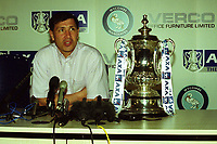 Lawrie Sanchez who scored the winning goal for Wimbledon against Liverpool in the 1988 FA Cup Final is now Wycombe Manager and preparing his team to play Liverpool at Villa Park as he sits alongside the FA Cup during a Press Conference at Adams Park (ahead of the FA Cup Semi-Final between Wycombe & Liverpool) on 6th April 2001
