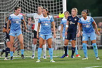 Piscataway, NJ - Saturday Aug. 27, 2016: Arin Gilliland, VAnessa DiBernardo, Alyssa Naeher, Leah Galton, Julie Johnston during a regular season National Women's Soccer League (NWSL) match between Sky Blue FC and the Chicago Red Stars at Yurcak Field.