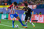 Stefan Savic of Atletico de Madrid competes for the ball with Kevin Volland of Bayer 04 Leverkusen during the match of Uefa Champions League between Atletico de Madrid and Bayer Leverkusen at Vicente Calderon Stadium  in Madrid, Spain. March 15, 2017. (ALTERPHOTOS / Rodrigo Jimenez)