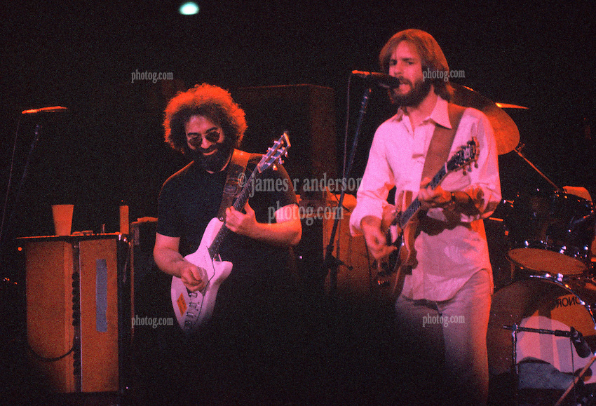 Jerry Garcia and Bob Weir. The Grateful Dead performing Live at the Hartford Civic Center on 28 May 1977
