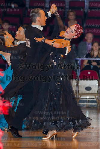 Oreste Alitto and Federica Bosco from Italy perform their dance during the amateur ballroom competition of the International Championships held in Brentwood Leasure Centre, Brentwood, United Kingdom. Wednesday, 12. October 2011. ATTILA VOLGYI
